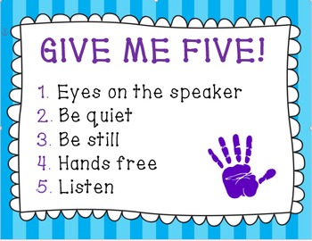 Classroom Management Poster: Give Me 5