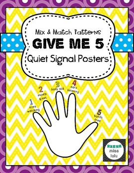 Give Me 5 Quiet Signal Posters- Mix & Match Patterns