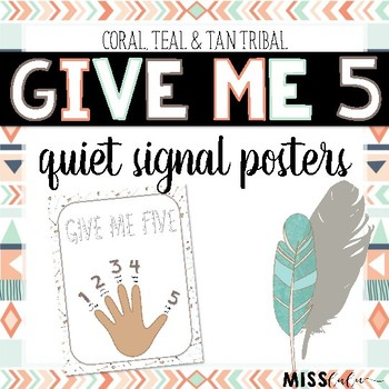 Give Me 5 Quiet Signal Posters- Tribal Patterns