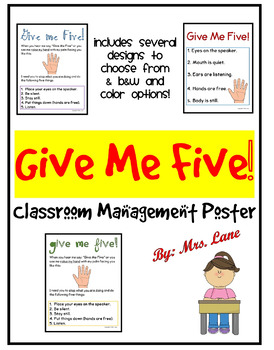 Give Me Five! Hand/Attention Signal (Poster)