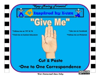 """Give Me"" Visual & Verbal Prompting Cut and Paste"