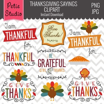 Give Thanks Clipart // Thanksgiving Sayings // Thanksgivin