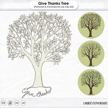Give Thanks Tree ClipArt, Thanksgiving Tree Printable, Tha