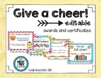 Give a Cheer! {Editable} Certficates
