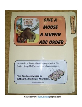 Give a Moose a Muffin ABC Order: File Folder Activity
