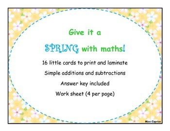 Give it a spring - 1st grade maths