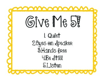 Give me 5 Classroom Poster!
