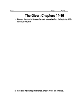 Giver Ch. 14-16