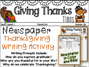 Thanksgiving Writing - W.3.2, W.4.2 - Creative Writing Newspaper