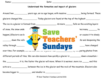 Glaciers Lesson plan and Worksheet (to go with videos)