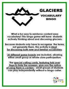 Glaciers Vocabulary Bingo