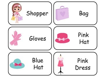 Glamour Girls themed printable Picture Word Flash Cards. P