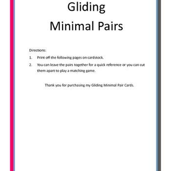 Gliding Minimal Pair Cards