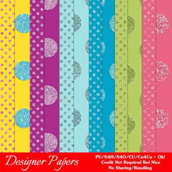 Glitter Bling Dots A4 size Digital Papers