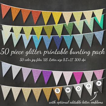 Glitter Bunting Alphabet Flag Banner - Printable, Editable