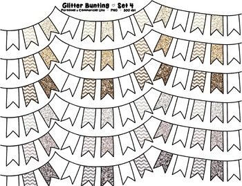 Glitter Bunting Banner Clipart - Neutral Colors - 7 graphics