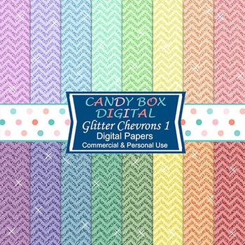 Rainbow Glitter Chevron Background Papers for Scrapbook and Blogs