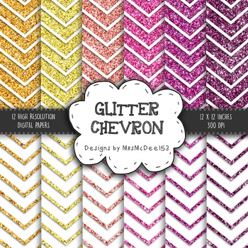 Glitter Chevron Digital Paper Set - Pinks, Purples, and Or