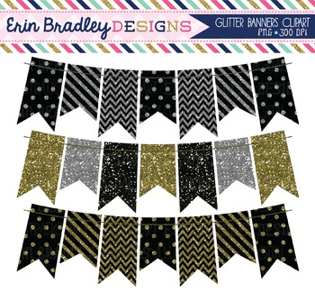 Glitter Clipart Bunting - Black Silver Gold