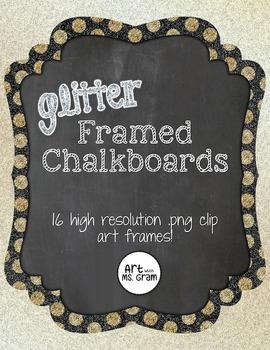 Glitter-Framed Chalkboard Clip Art (Frame)