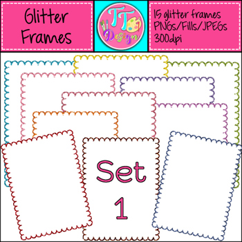 Glitter Frames Set 1 Clip Art {8.5 x 11} CU OK