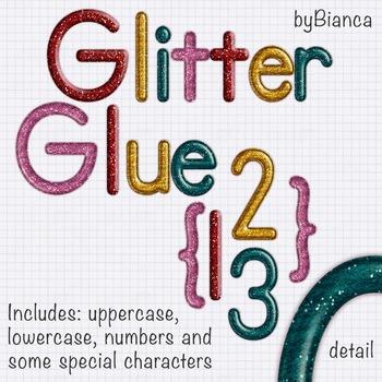 Glitter Glue {alphabet} - commercial use