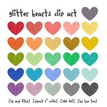 Glitter Hearts Clip Art, Rainbow Colored Hearts, Valentine