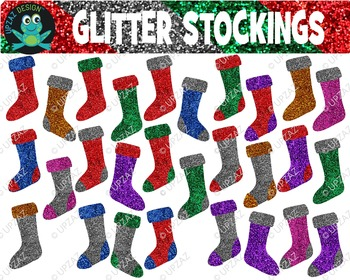 Glitter Holiday Stockings {Upzaz Digital Clipart}