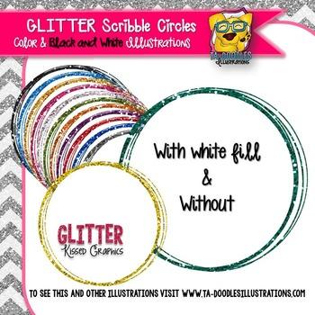 Glitter Scribble Circle Frames Clip Art