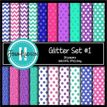 Glitter Set #1 Digital Papers ~ polka dots, solids, and chevrons