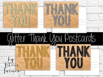 Glitter Thank You Postcards
