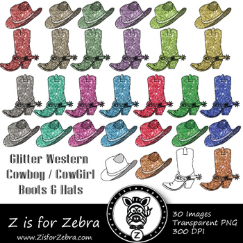 Glitter Western Boots & Hats Clip art - Commercial Use OK