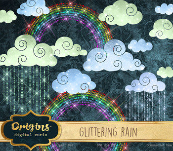 Glittering Rain, clouds, and rainbows sparkle png clipart