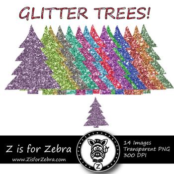 Glittery Tree Clipart - CU OK! { ZisforZebra }
