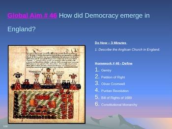 Global Aim # 46 How did Democracy emerge in England?