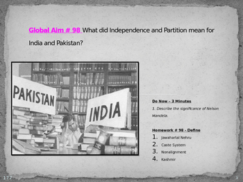 Global Aim # 98 What did Independence and Partition mean f