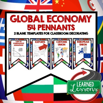 Global Economy Word Wall Pennants (Economics and Free Enterprise)