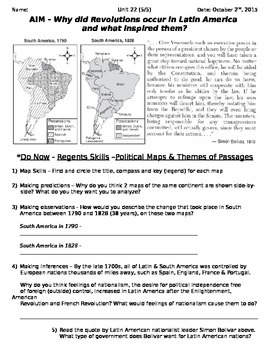Global History 10th Grade - Unit 22 French/Latin American