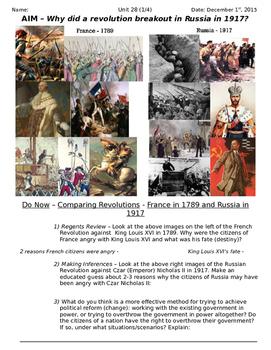 Global History 10th Grade - Unit 28 Russian Revolution - D