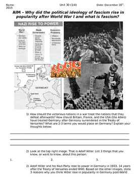 Global History 10th Grade - Unit 30 Rise of Fascism Post-W