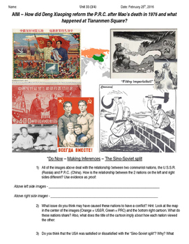 Global History 10th Grade - Unit 33 Chinese Revolution - D