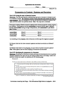Global History DBQ Essay - Economics