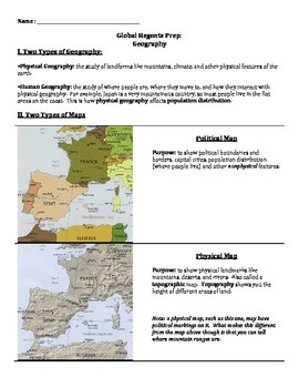 Global History Regents Review Packet / Prep - Geography