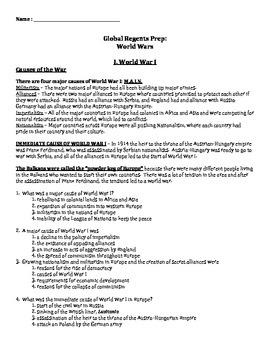 Global History Regents Review Packet / Prep - World Wars