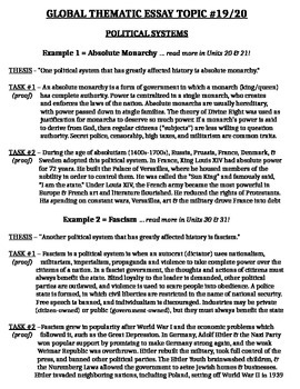 Global History - Thematic Essay Topic 19/20 Body Outline Example