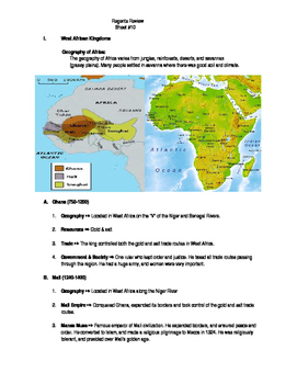 Global Regents Review Sheet #10 West African Kingdoms w/ P