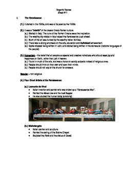 Global Regents Review Sheet #11 The Renassiance w/ Practic