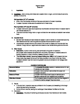 Global Regents Review Sheet #17 Imperialism w/ Practice Questions