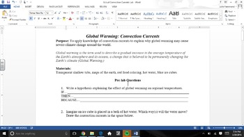 Global Warming Lab: Convection Currents