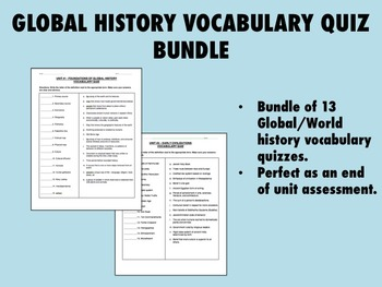 Global/World History Vocabulary Quiz Bundle